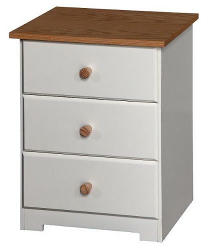 Corby White 3 Drawer Bedside